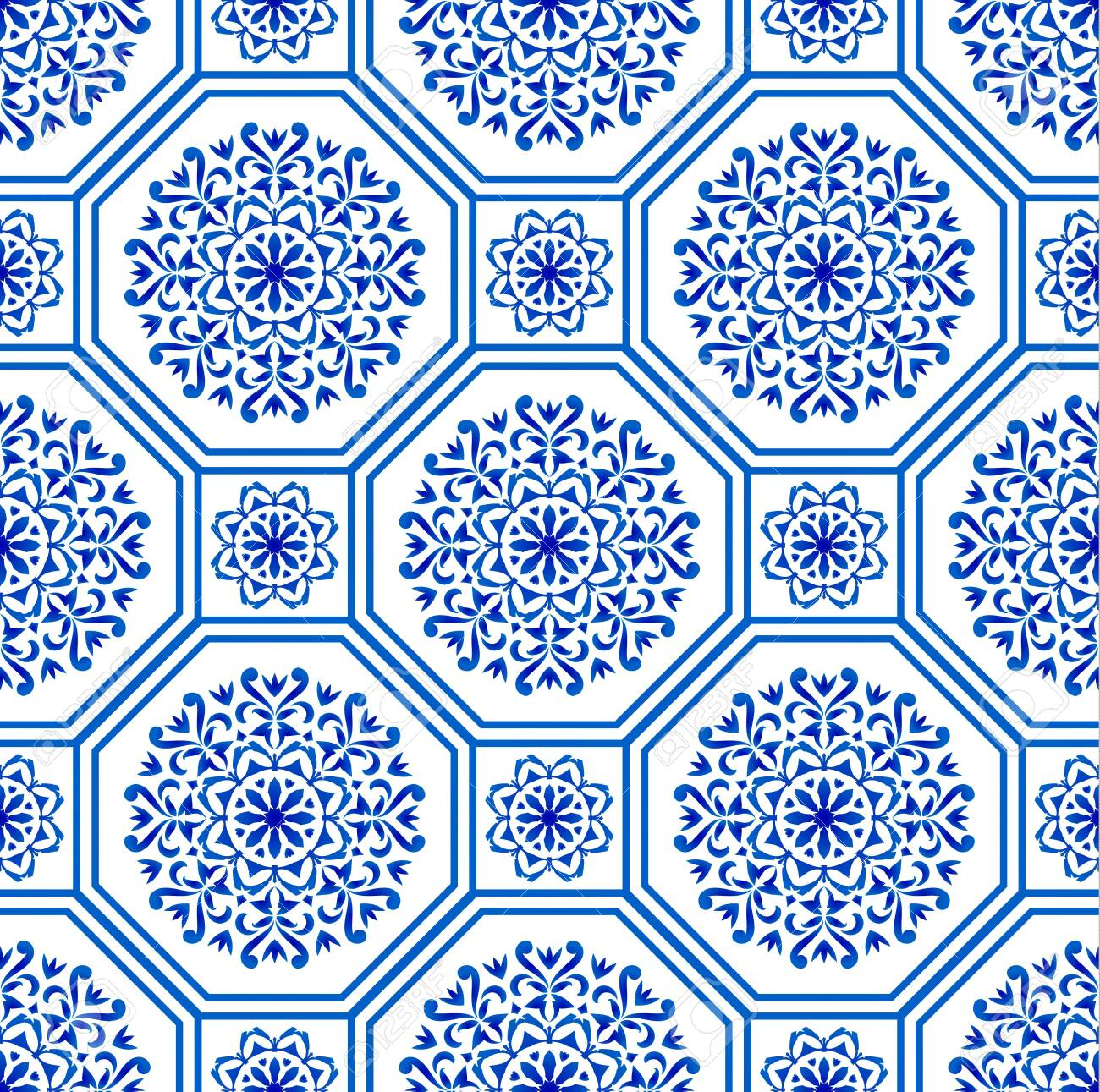 decorative Hexagon tile design patchwork portuguese moroccan and motif style, luxury oriental blue and white seamless modern pattern, ceramic background, geometric floral wallpaper vector illustration - 123715667