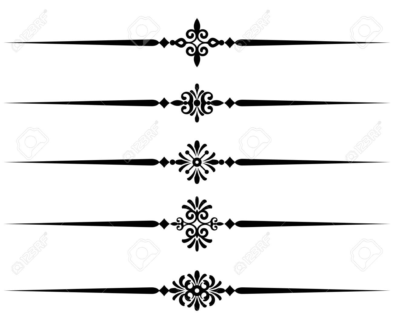 Collection of decorative line elements, beautiful different ornamental rules for elegant design border and page, vector illustration - 133343929