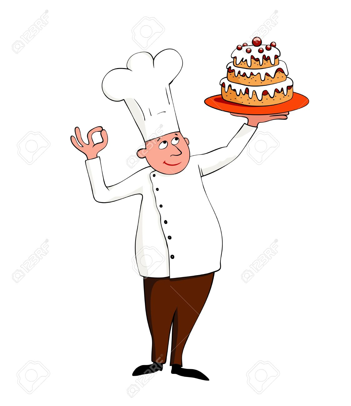 young chef with a cake on white Stock Vector - 7862059
