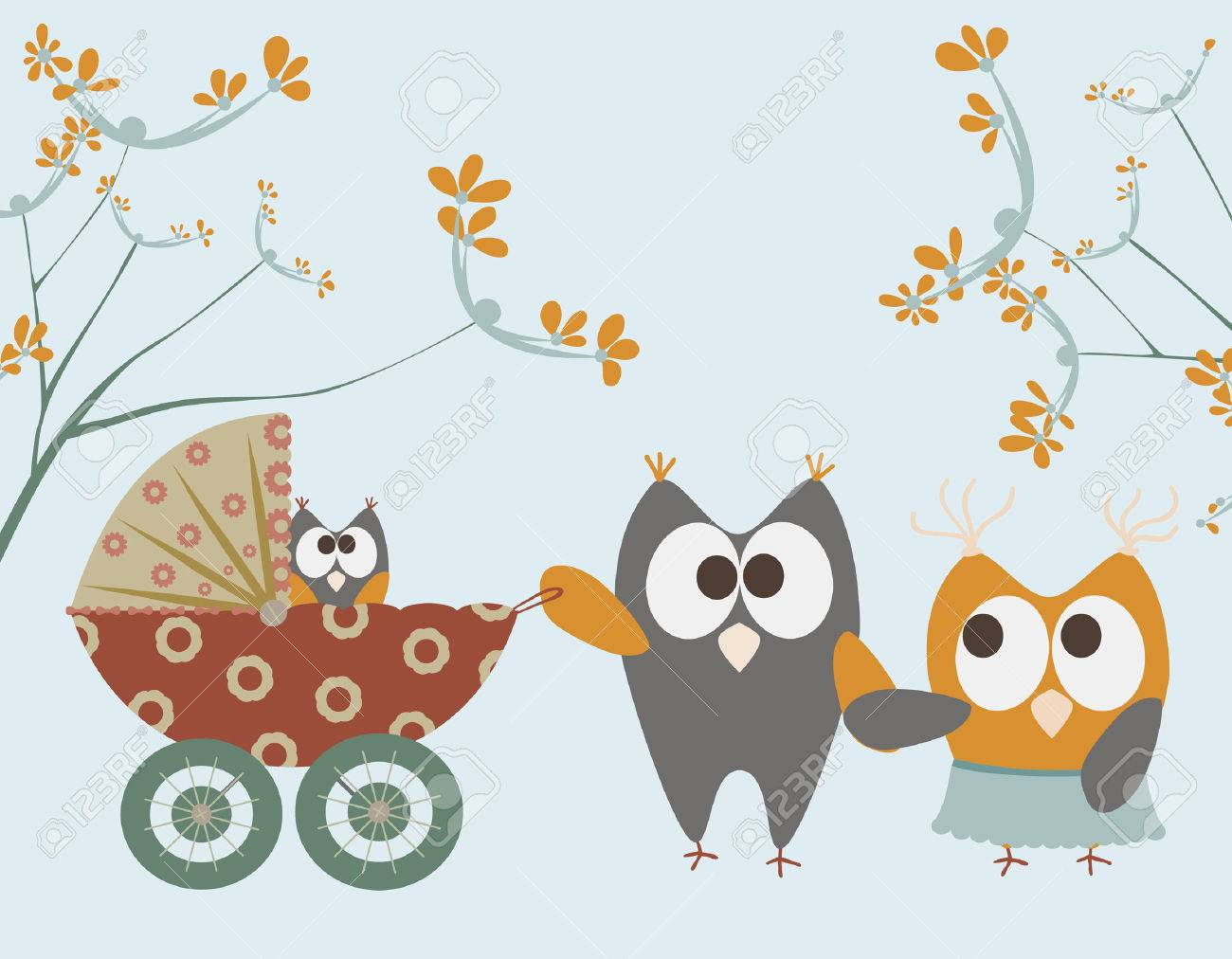 baby stroller with owls Stock Vector - 8009610