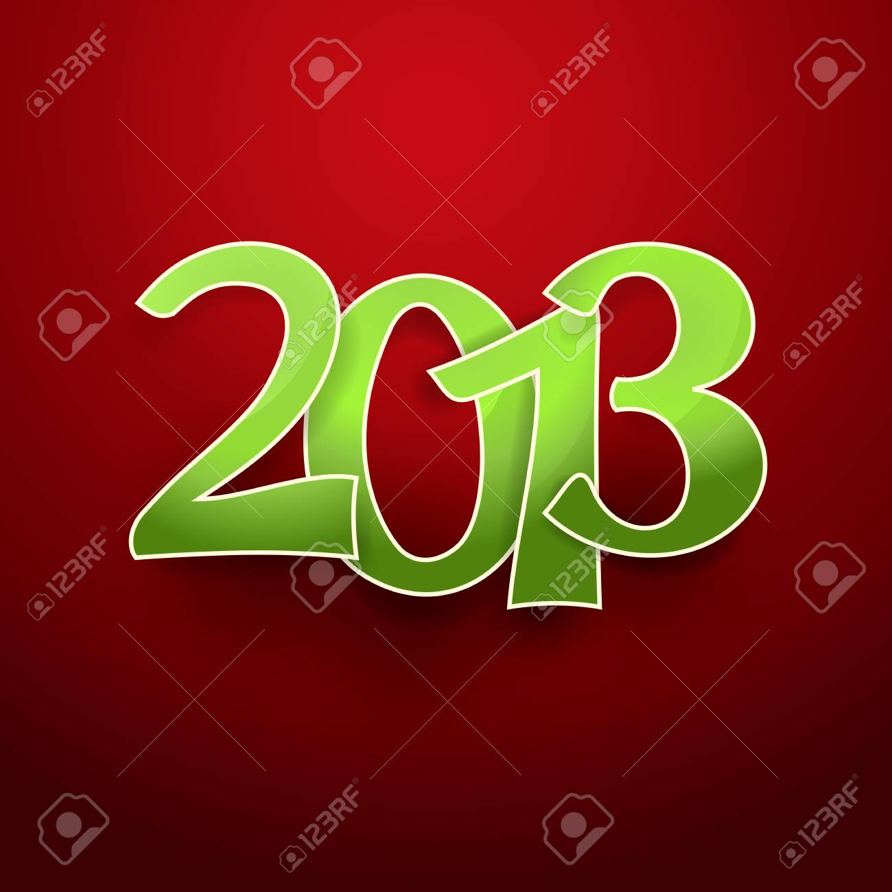 green 2013 on red new year background Stock Photo - 16901253