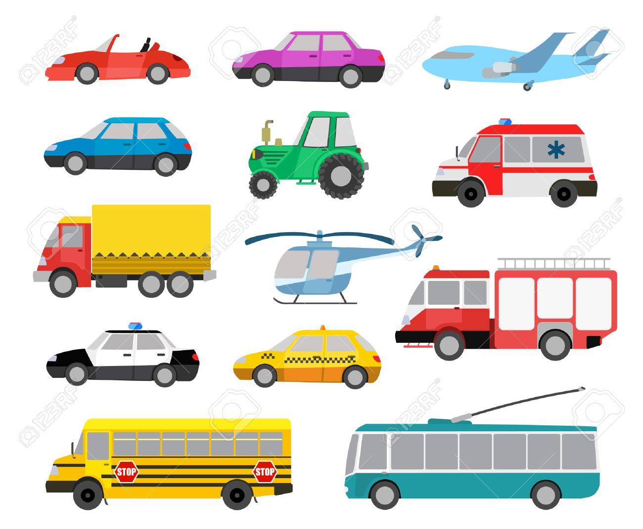 Set Of Cartoon Cute Cars And Vehicles. Vector Illustration Royalty ...