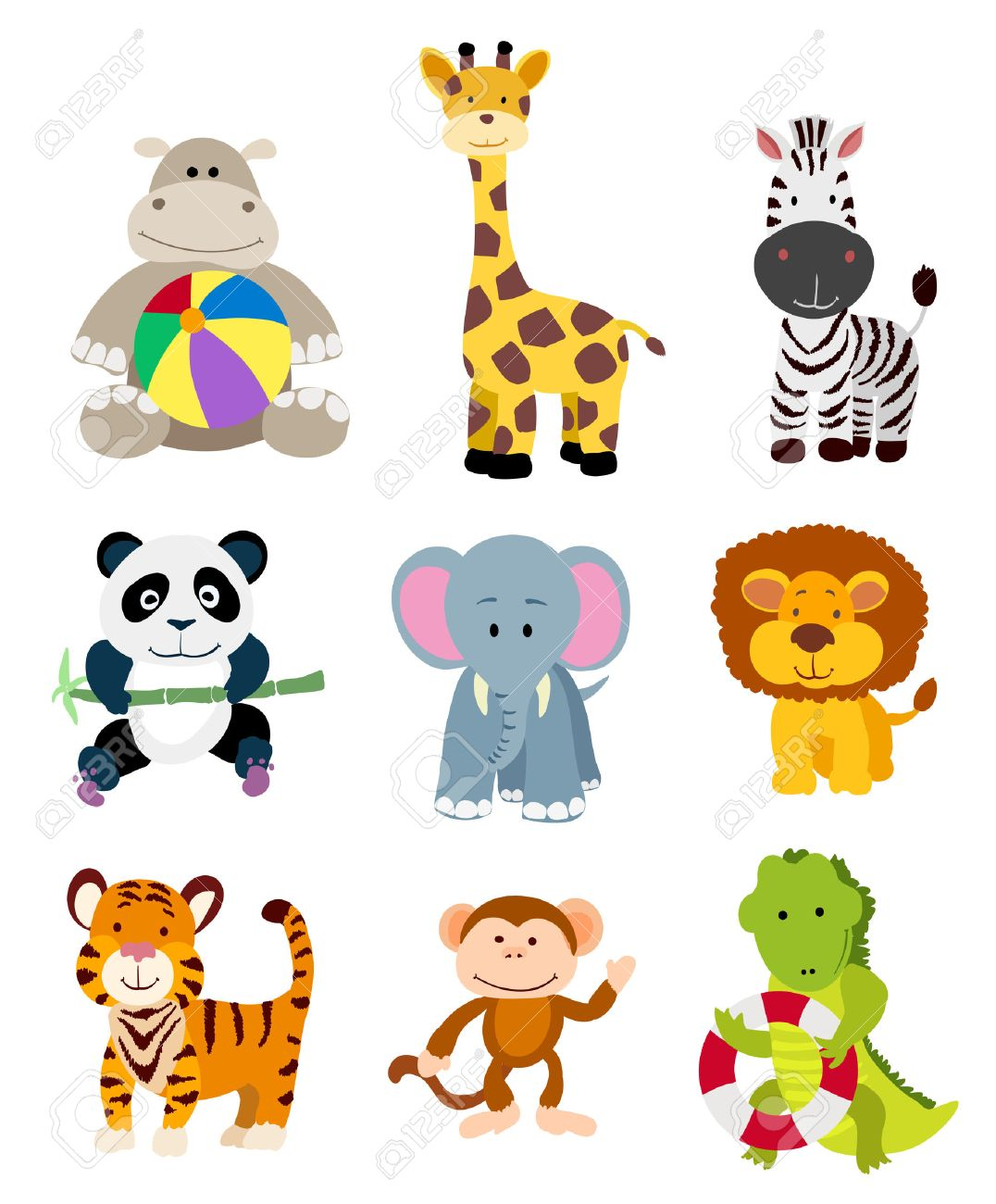 set of vector jungle cartoon animals Stock Vector - 43584873