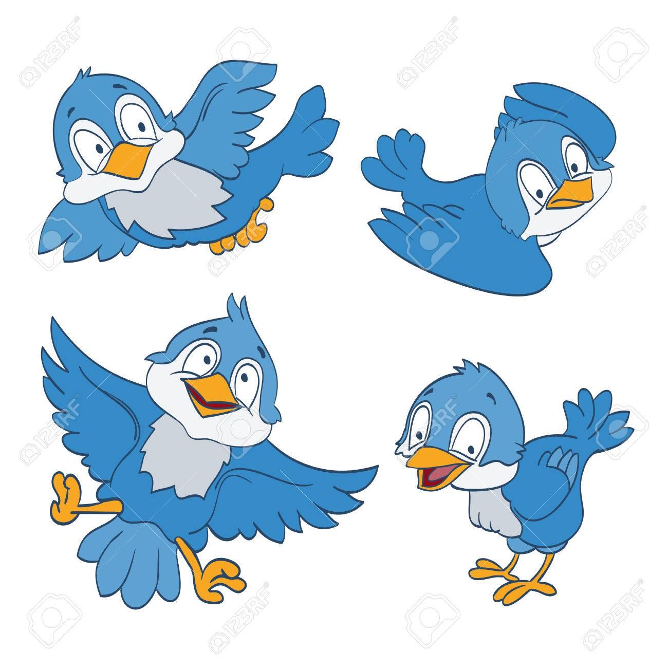 Conjunto De Pájaros Azules De Dibujos Animados En Blanco Vector