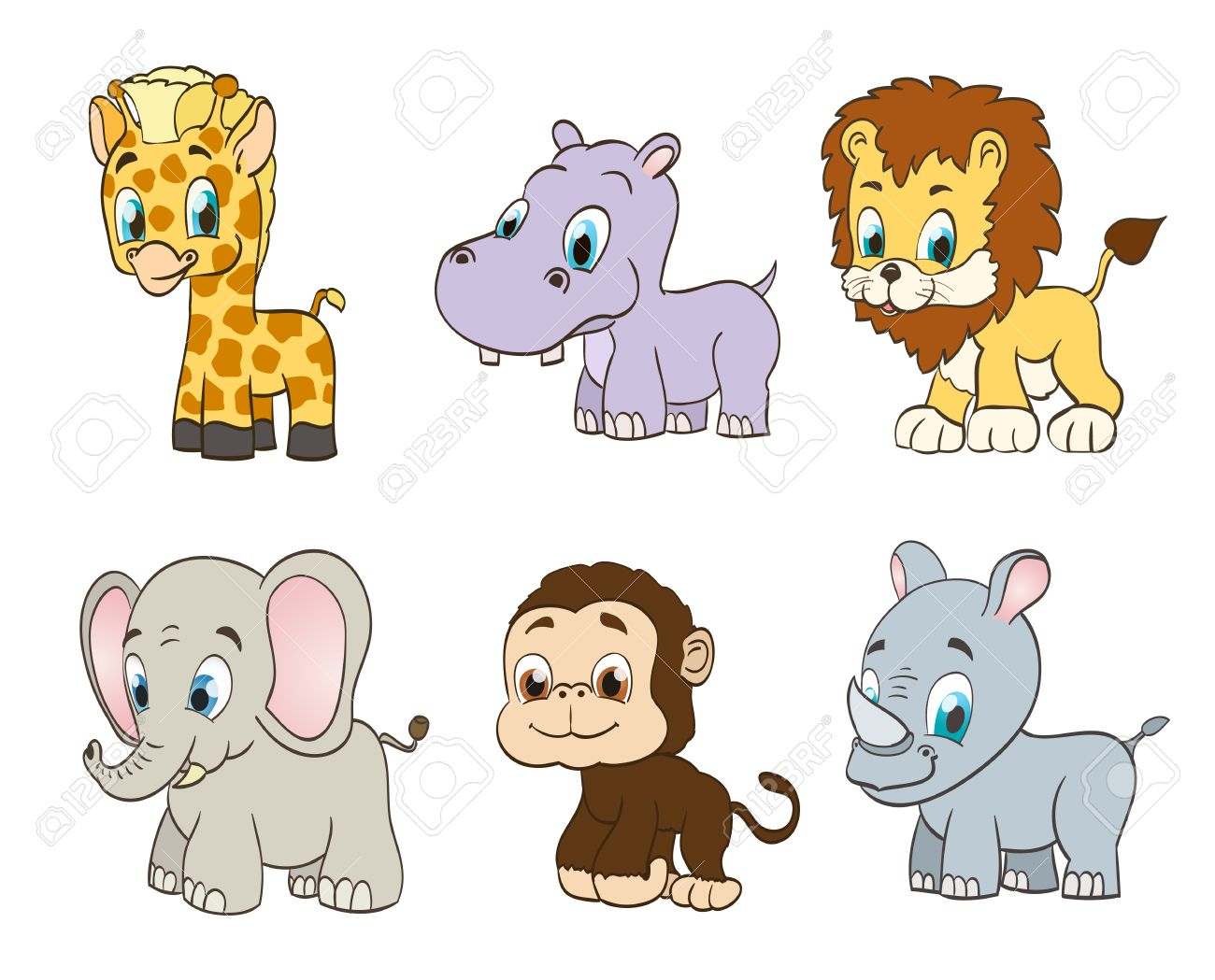 cartoon animals images  Set Of Vector Jungle Cartoon Animals. Vector Royalty Free Cliparts ...