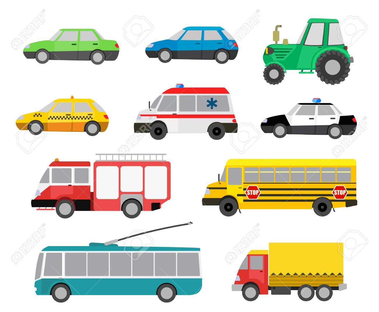 Ensemble de dessins animés voitures mignonnes et véhicules spéciaux. illustration vectorielle