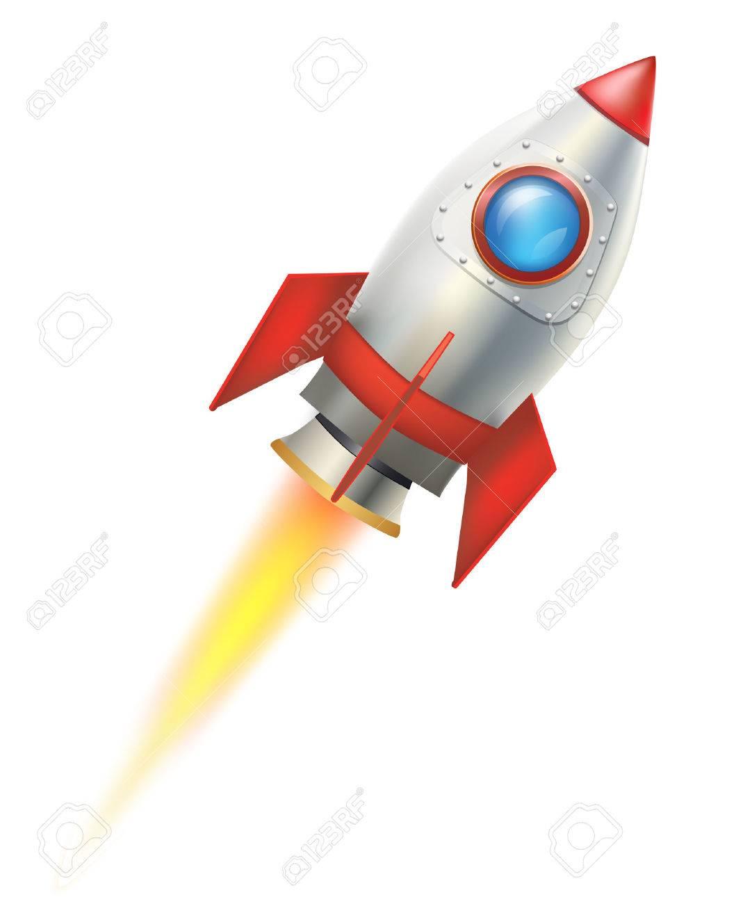 flying rocket on white background. vector illustration - 50086533