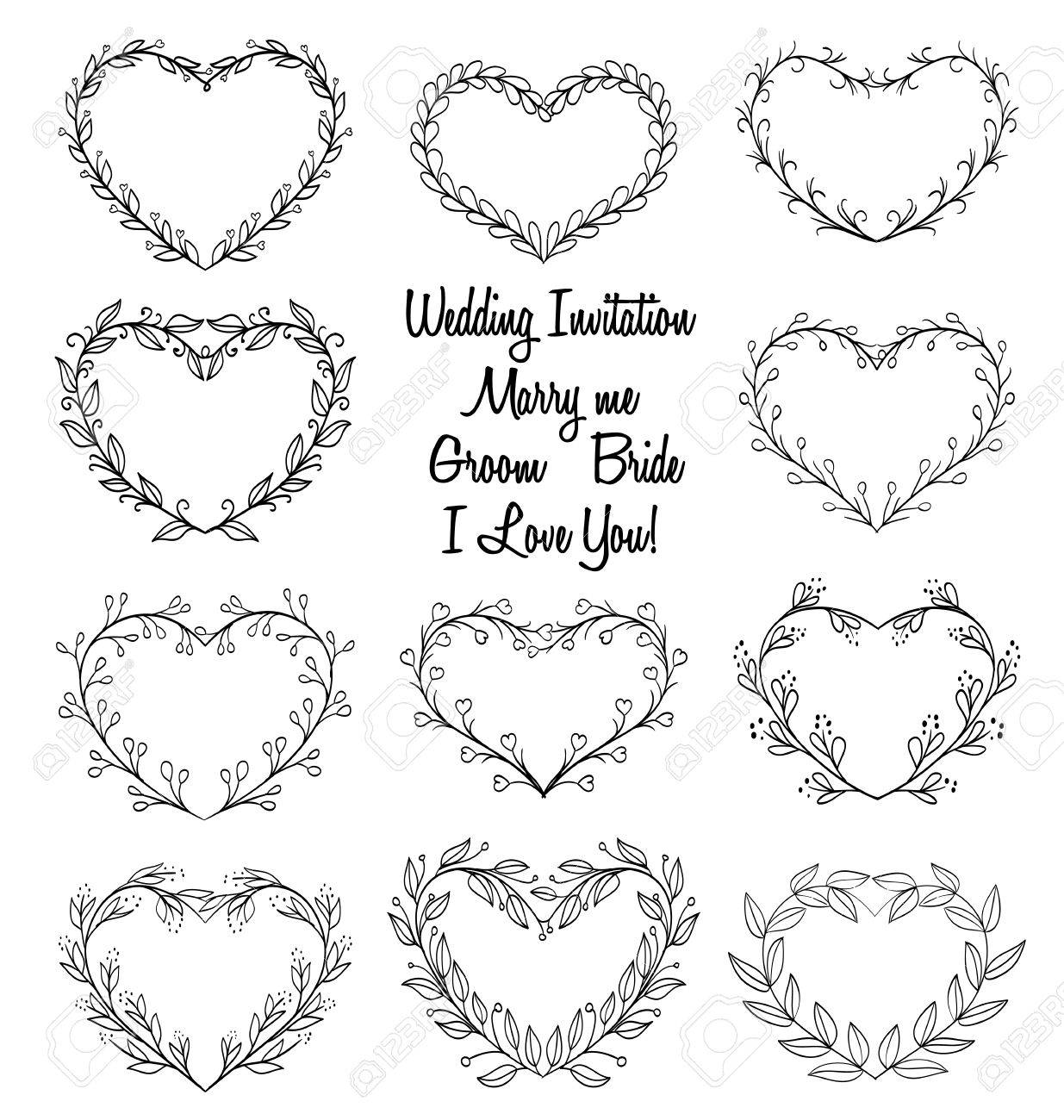 Hand Drawn Wreaths In Heart Shape Frame. Doodle Vector Illustration ...