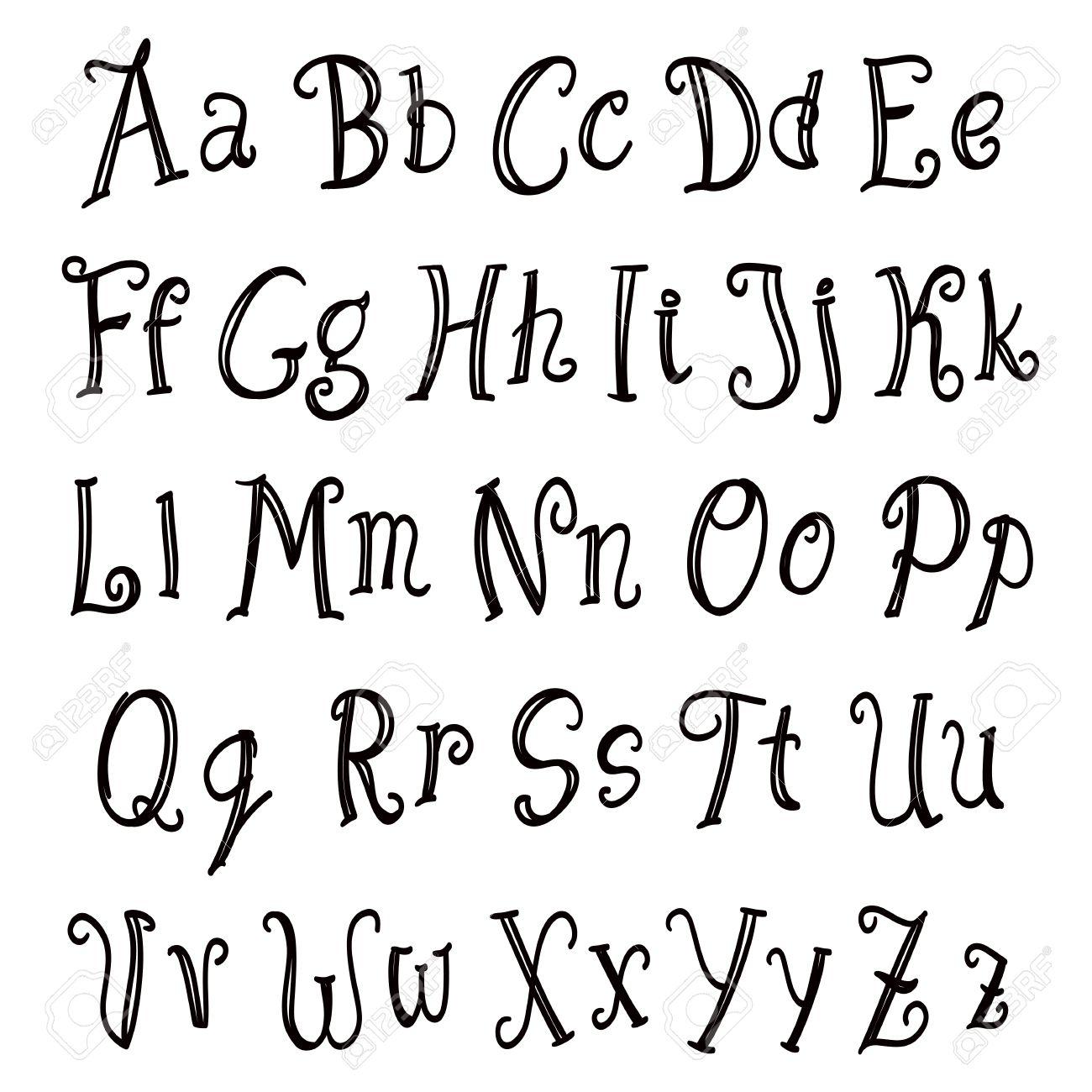 Hand Lettering Alphabet Set Black On White Vector Royalty Free