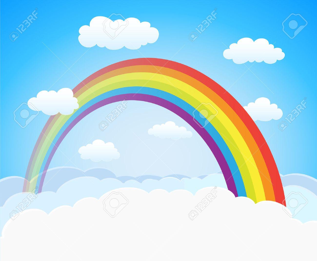 cartoon sky with rainbow and clouds vector horizontal background rh 123rf com free vector skylines free vector sky