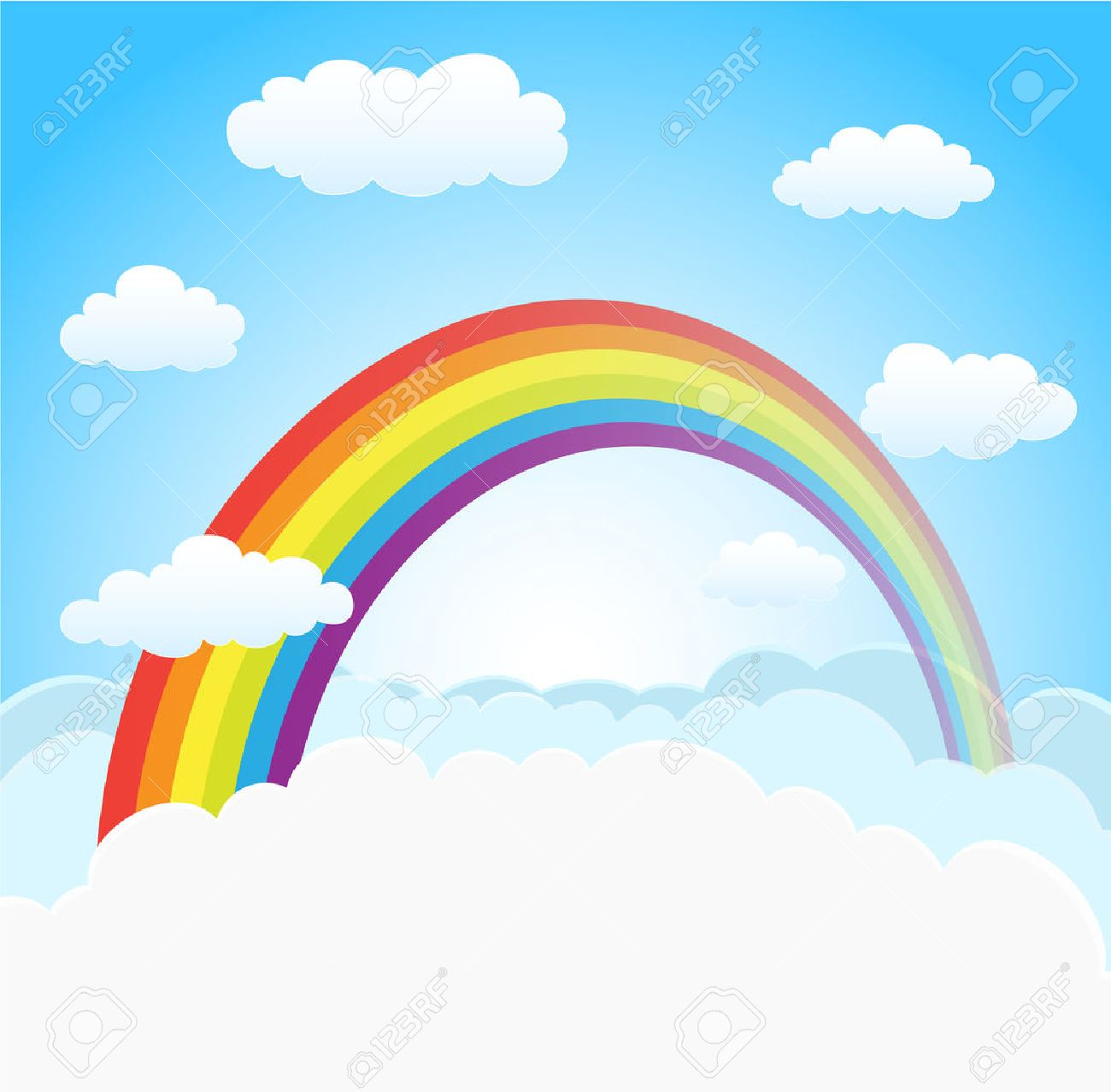 cartoon sky background with rainbow and clouds vector royalty free rh 123rf com vector skyline rotterdam vector skydiving