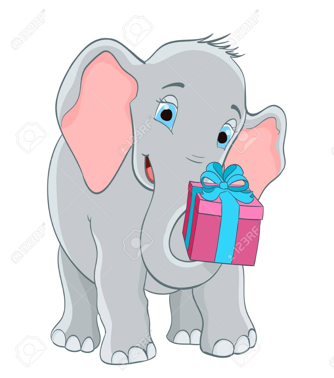 baby elephant with a gift. cartoon vector illustration - 52820584