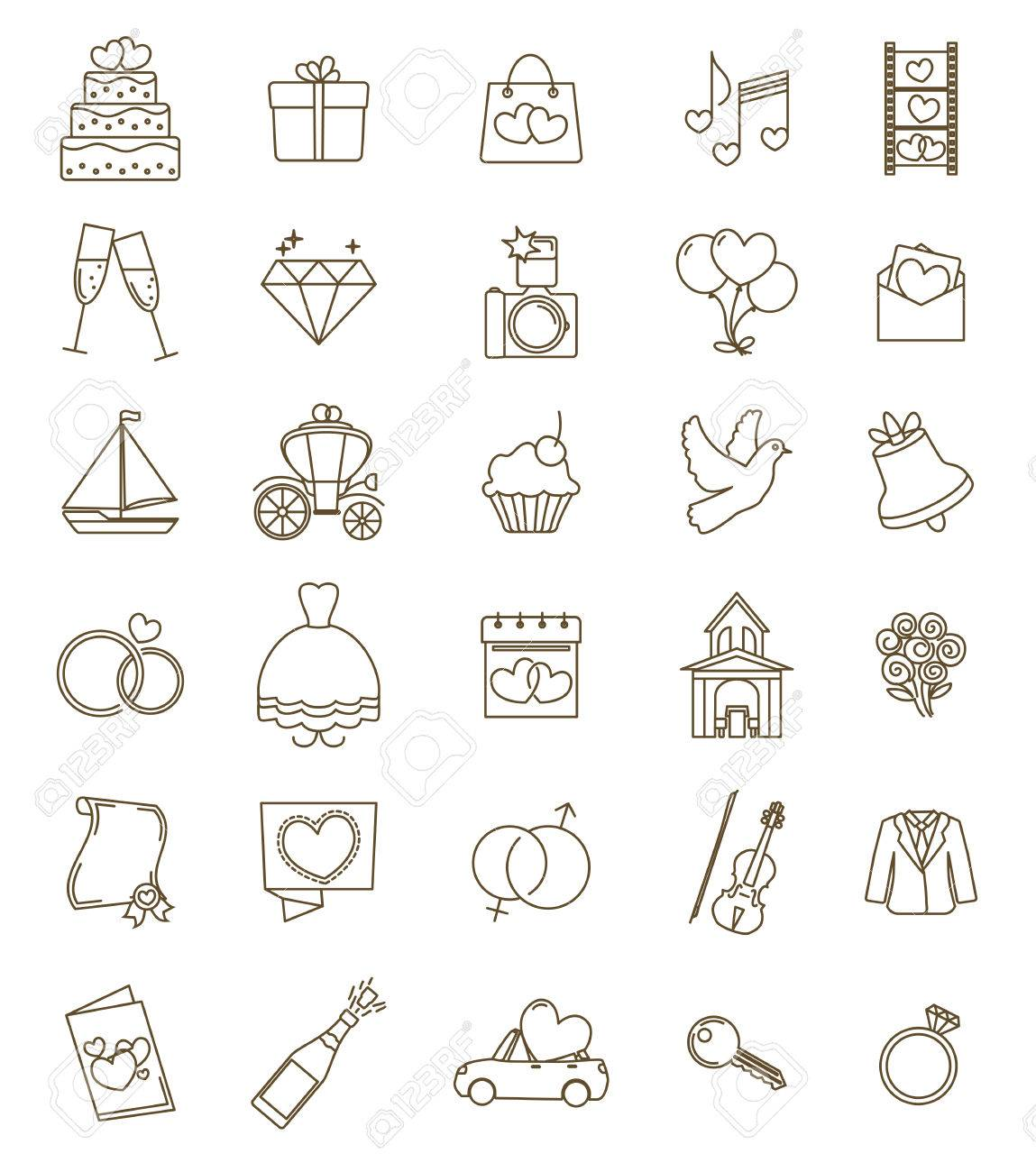 Dunne Linie Symbole Hochzeit Set Skizzieren Mit Einstellbarem Hub