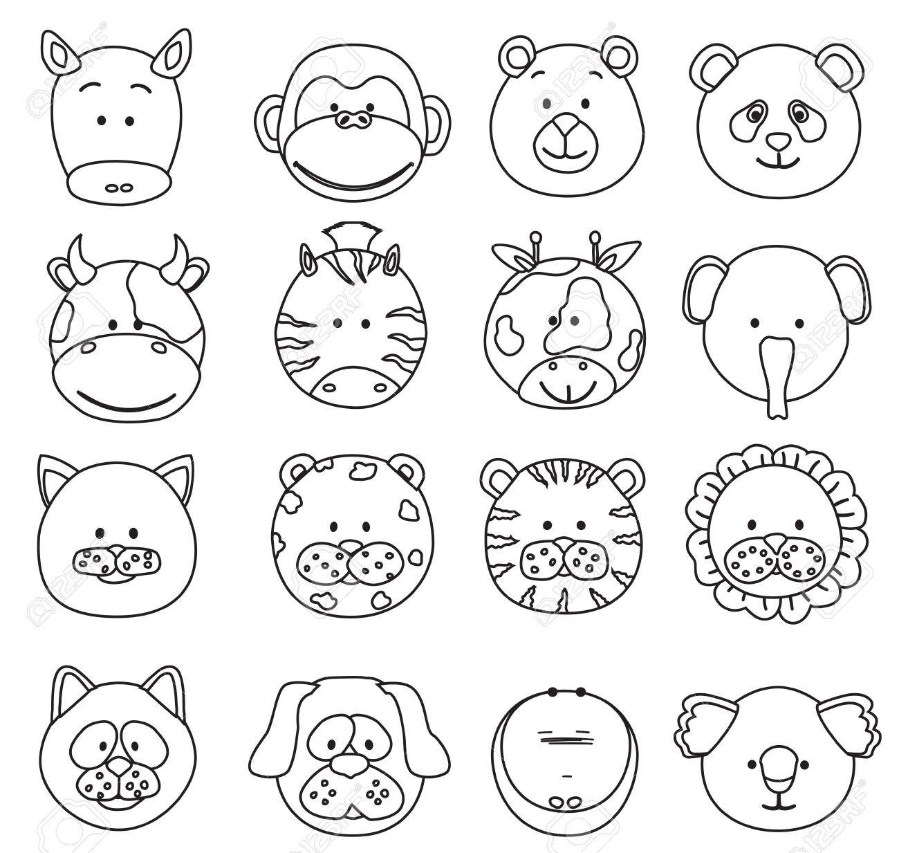 set of cartoon animals faces thin line icons vector collection