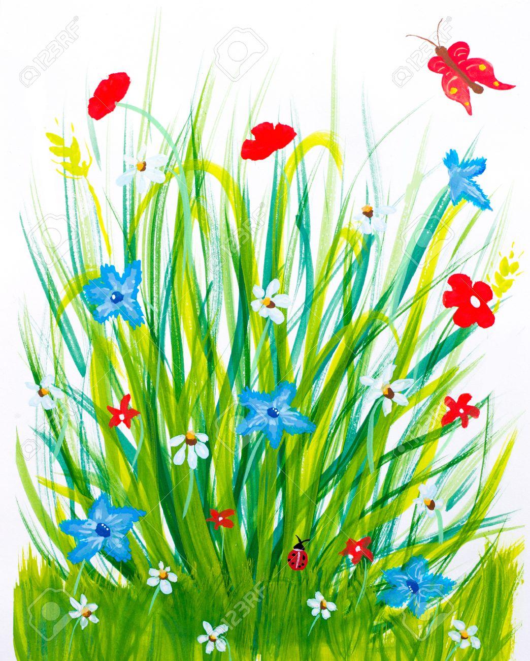 Herbe Et Les Fleurs Du Printemps Pré Pinceau Dessin Enfantin