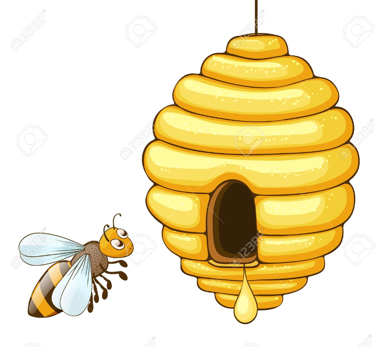 bee flying and beehive with honey drop vector illustration royalty rh 123rf com Simple Butterfly Clip Art Cartoon Bee Hive Clip Art