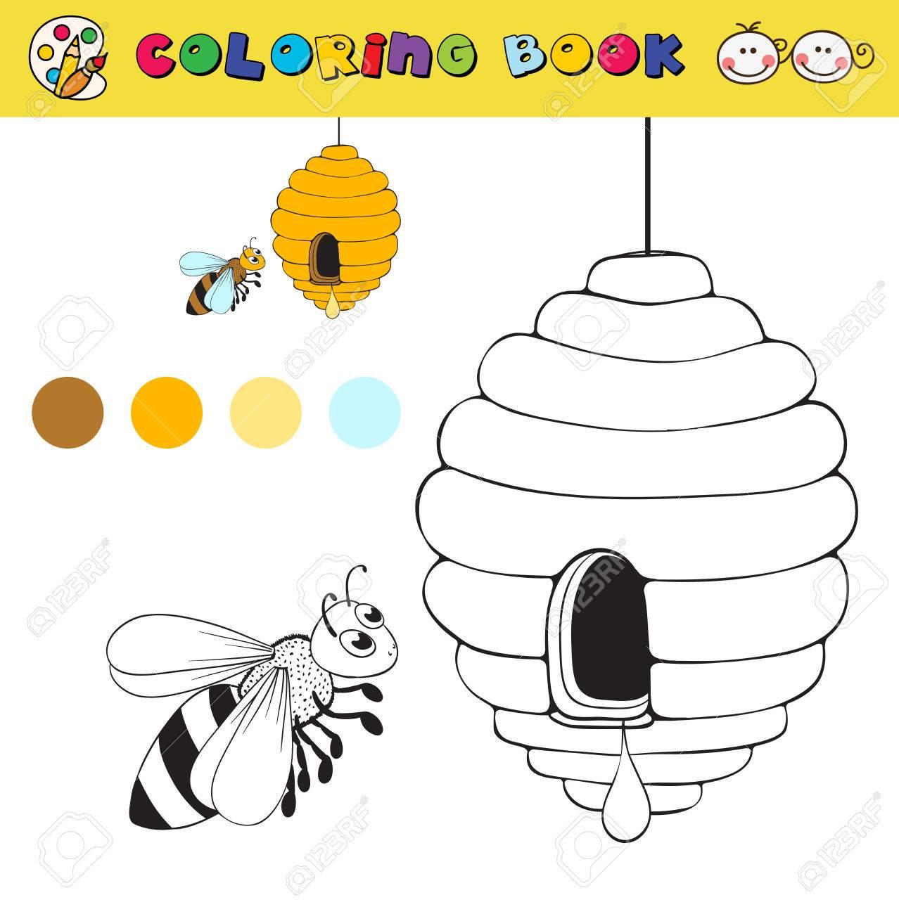 Coloriage Page Du Livre Modèle Avec Des échantillons De Ruches Et Dabeilles Couleur Vecteur Illustraton