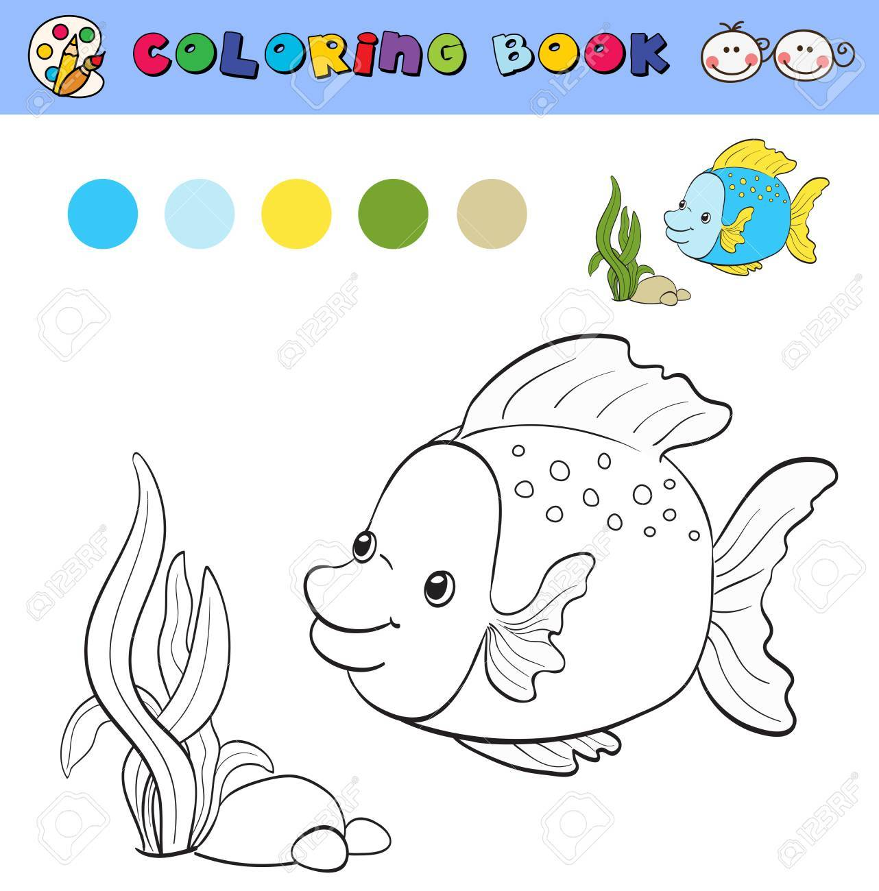 Coloring Book Page Template With Tropical Fish And Plants Color Samples Vector Illustraton Stock