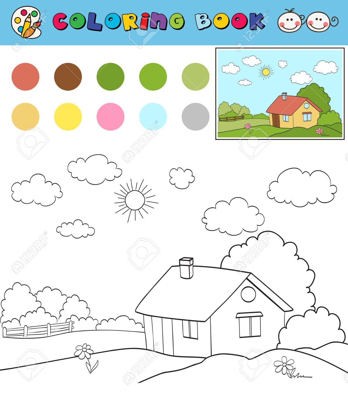 Plantilla De Página De Libro Para Colorear Con La Casa En El Campo Del Paisaje Muestras De Color Illustraton Vector