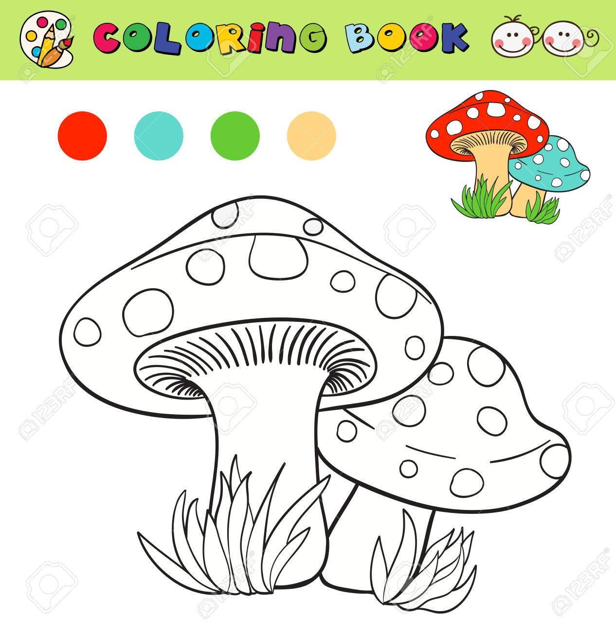 Coloring Book Page Template With Mushrooms In Grass Color Samples Vector Illustraton Stock