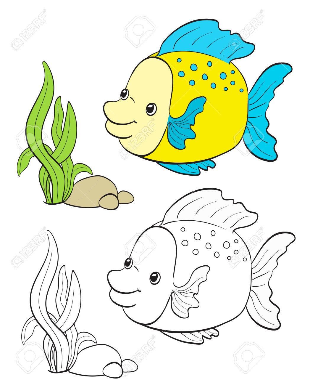 Dibujo De Peces De Dibujos Animados Con La Versión Para Colorear En Blanco