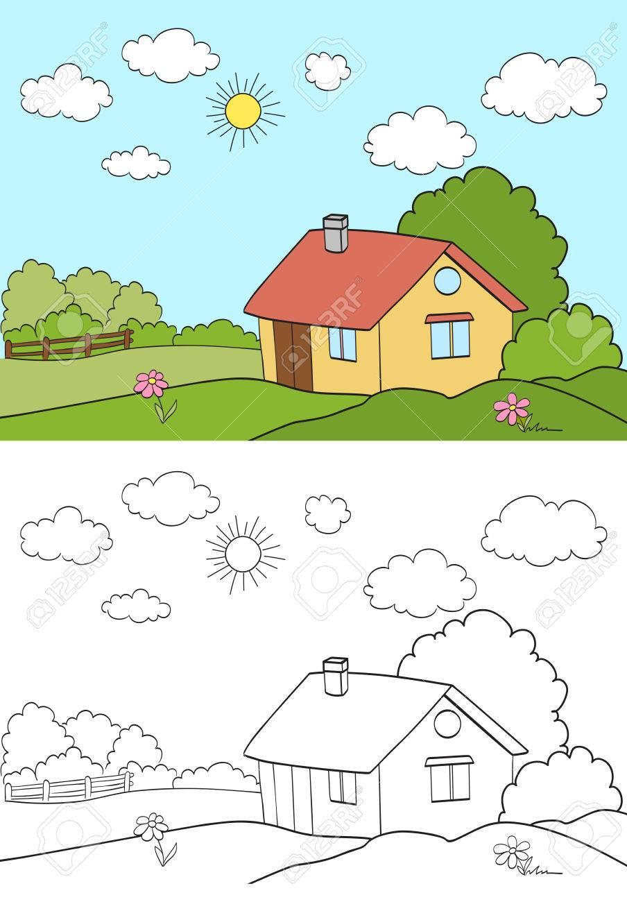 Casa En El Campo Del Paisaje Con La Versión De La Página Para Colorear Ilustración Vectorial