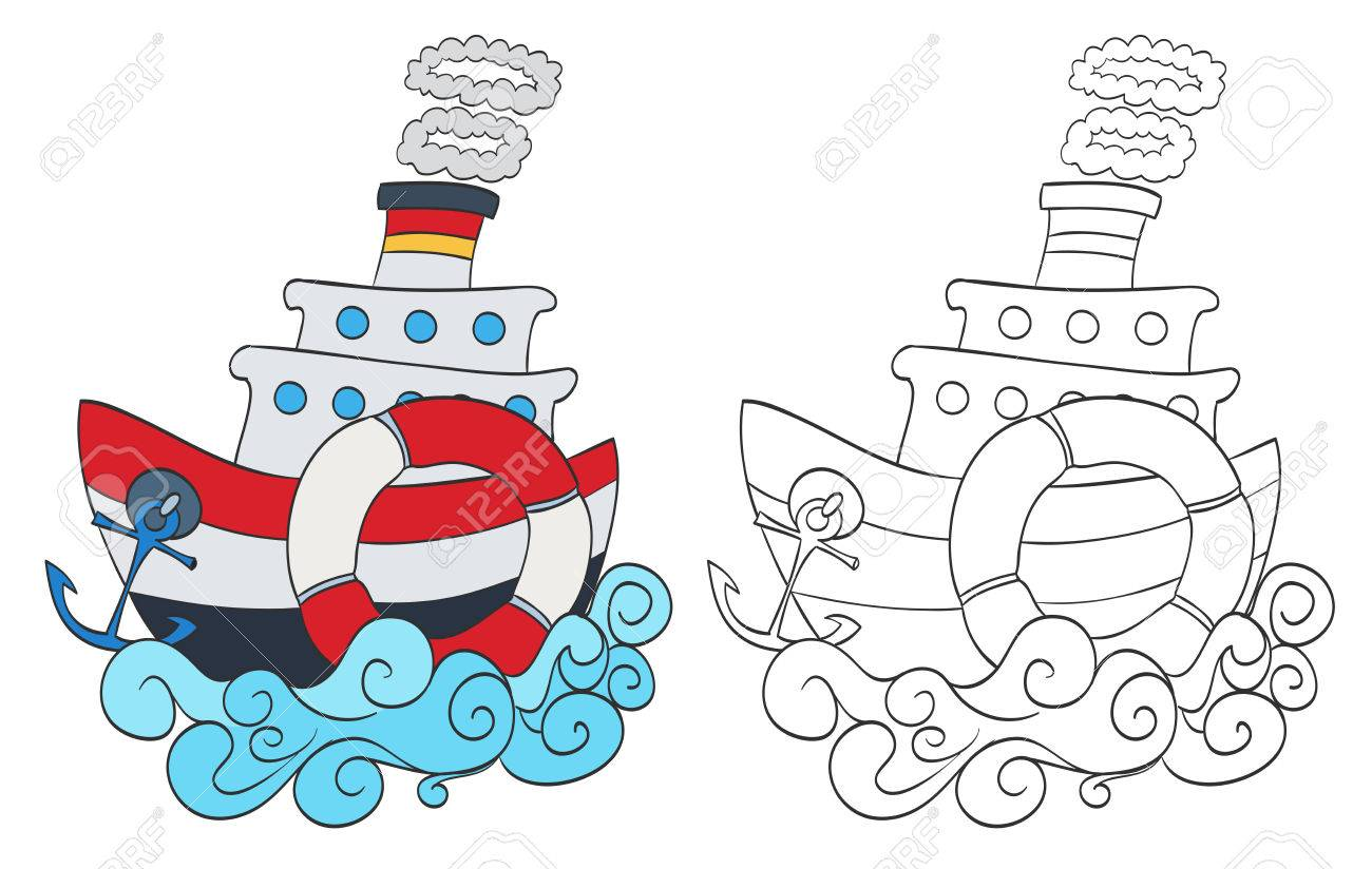 Hand Drawn Cartoon Steamship With Coloring Page Version Vector