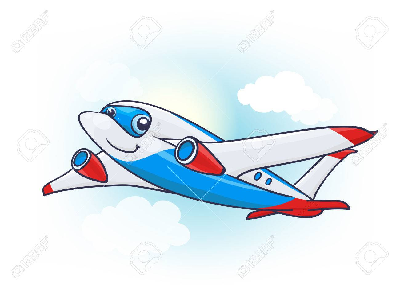 Cute Cartoon Plane Character In The Sky Vector Royalty Free