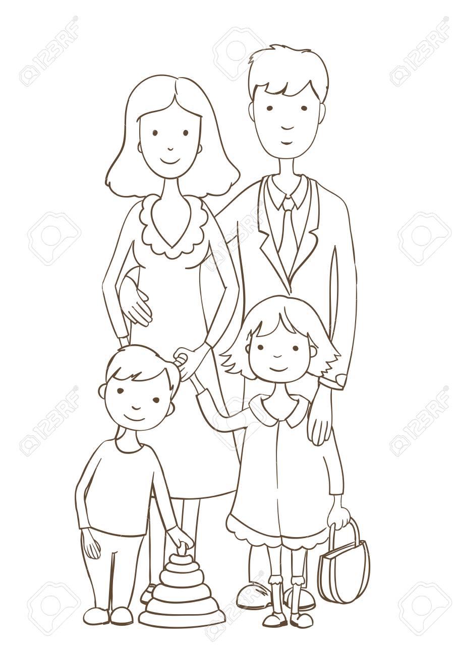 Nette Karikatur Gluckliche Familie Auf Weiss Malvorlage Version