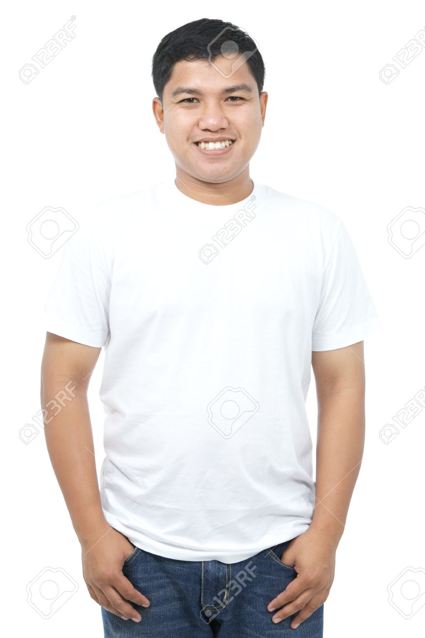 White t shirt and blue jeans - Stock Photo Happy Asian Man In White T Shirt And Blue Jeans Isolated On White Background