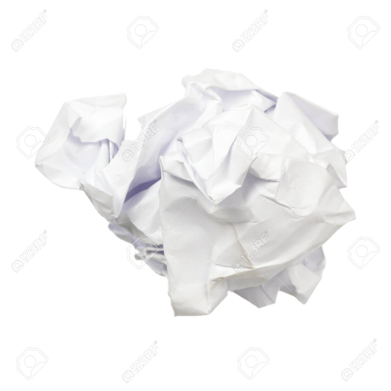 crumpled paper ball isolated on a white background stock photo