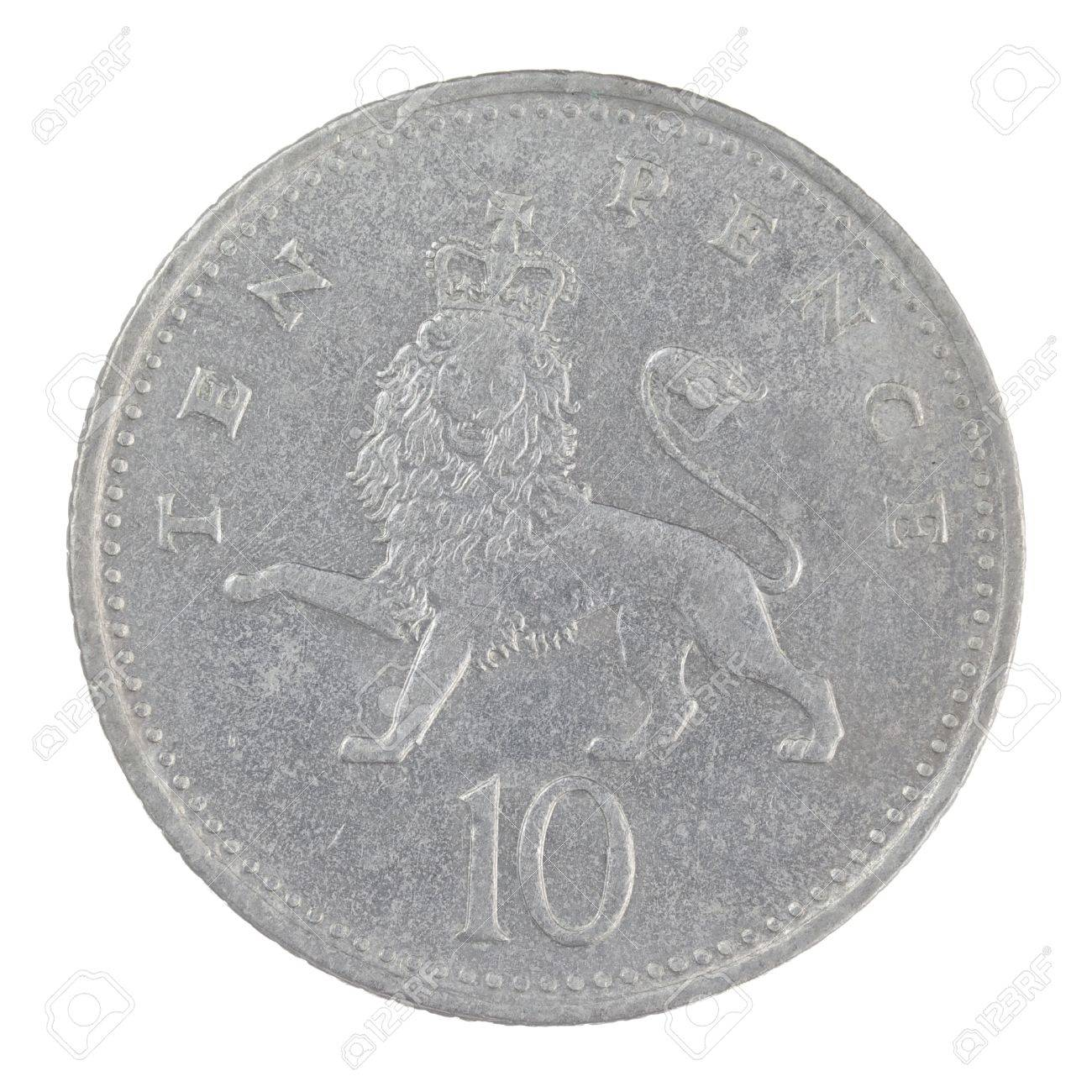 Close Up Schuss Von Einem Alten Englischen Zehn Pence Münze Auf