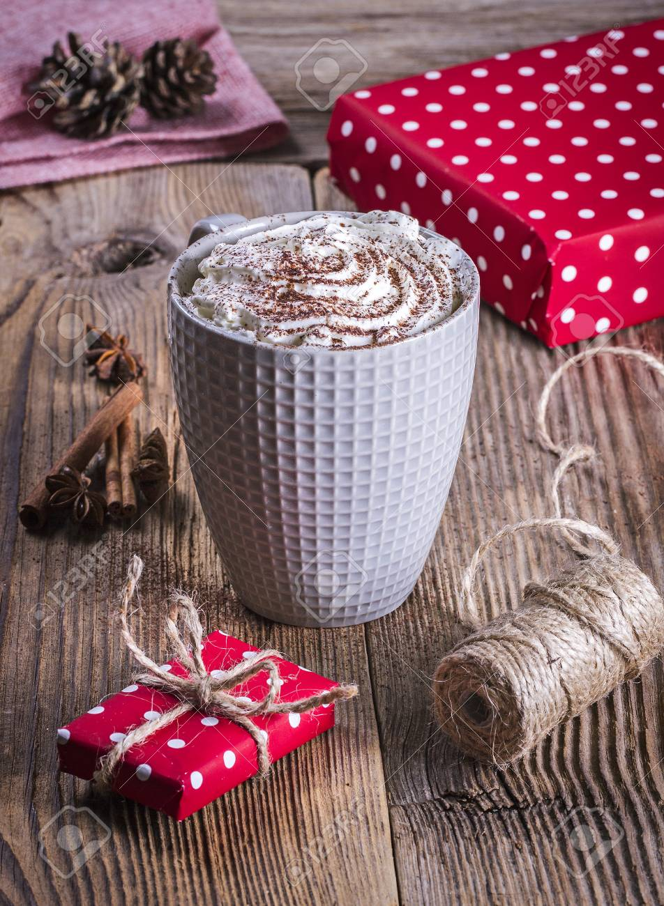 Hot Cocoa, Cinnamon, Anise And Christmas Presents Stock Photo ...