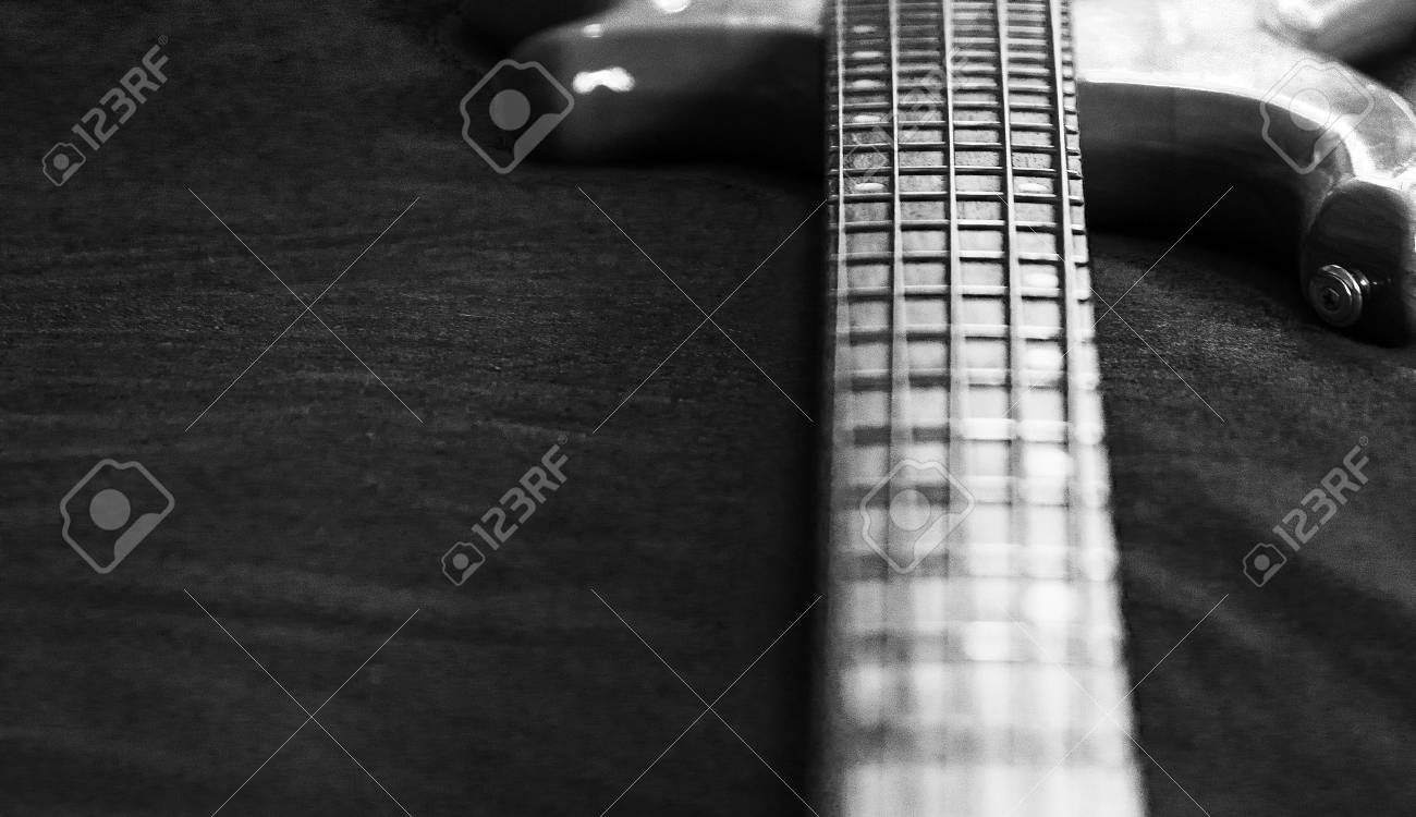5 String Bass Guitar Wallpaper Black And White High Resolution
