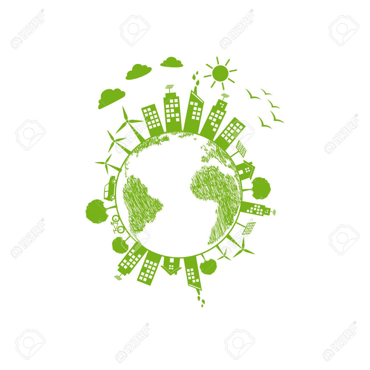 Green World Symbol For Ecology Friendly And Sustainable