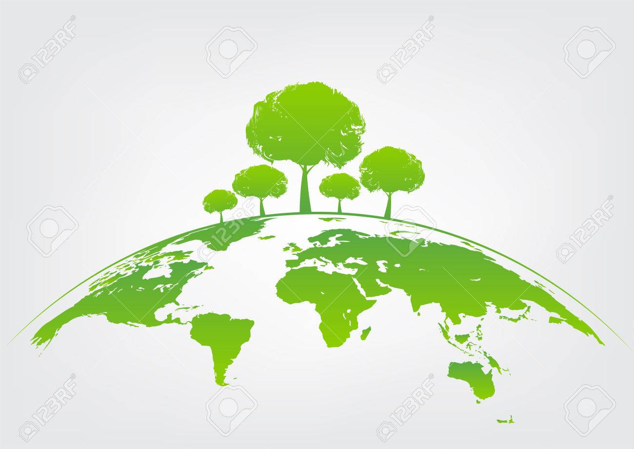 Green tree on earth for ecology friendly concept and World environment and sustainable development concept, vector illustration - 85440859