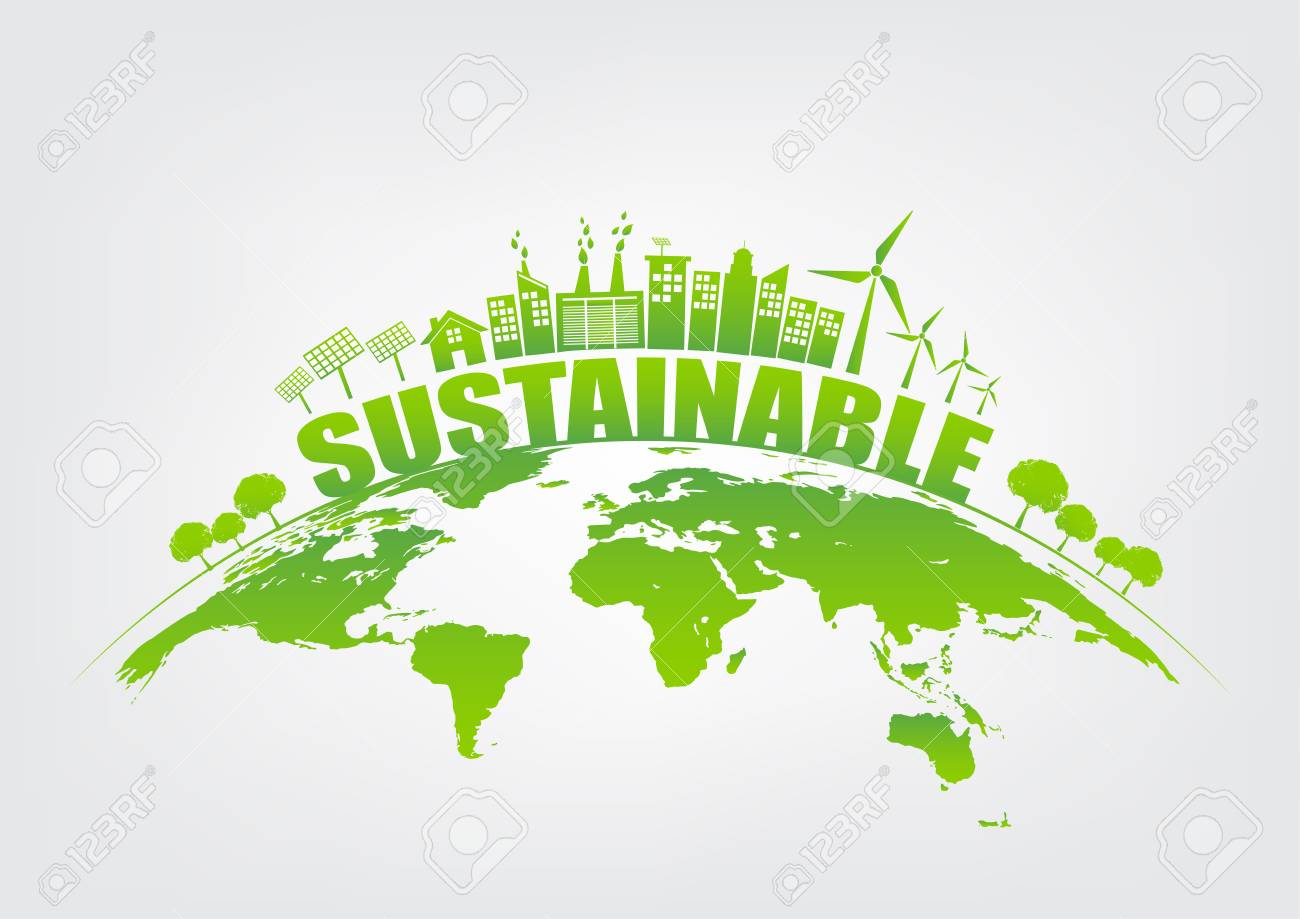 Ecology concept with green city on earth, World environment and sustainable development concept, vector illustration - 87616055