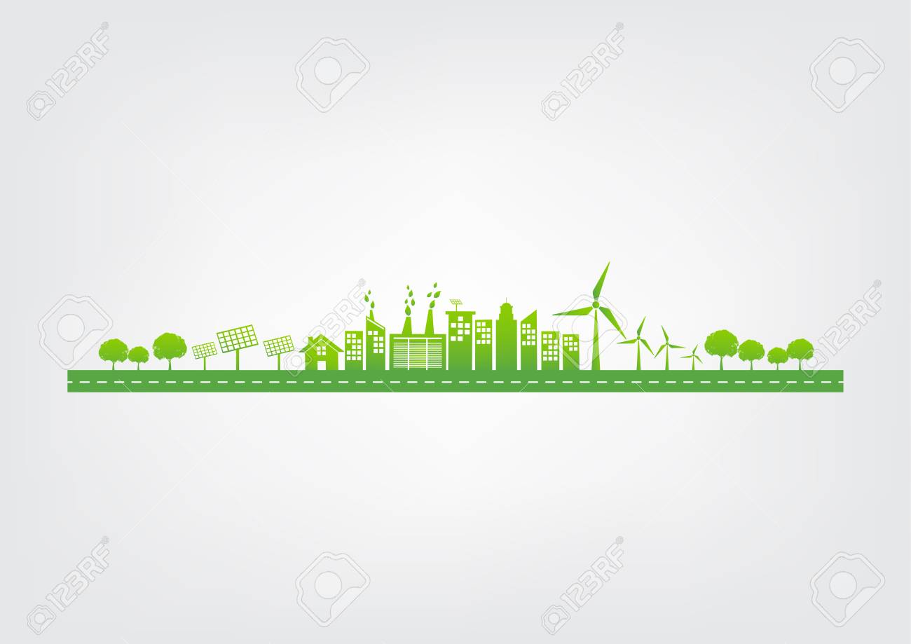 Ecology concept with green city on road, World environment and sustainable development concept, vector illustration - 122667754