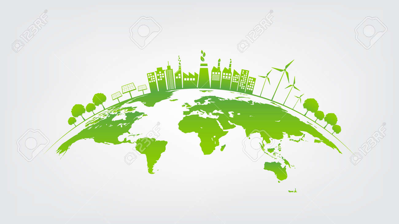 Ecology concept with green city on earth, World environment and sustainable development concept, vector illustration - 166006549