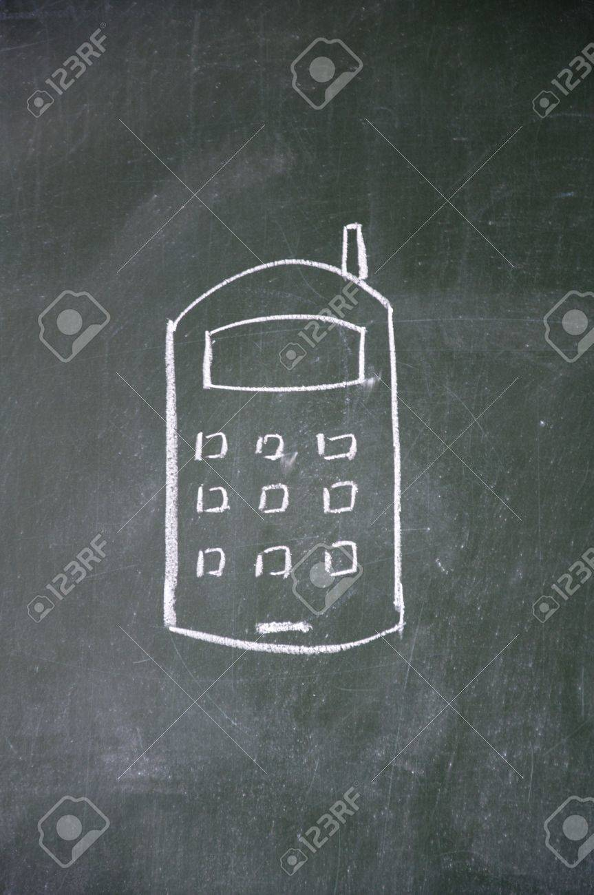 cellular phone sign drawn with chalk on blackboard Stock Photo - 11875780