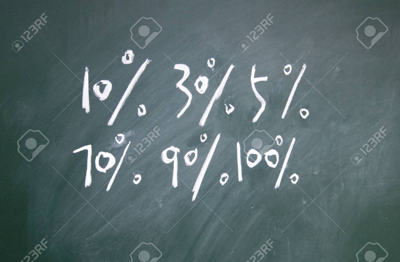Percent sign drawn with chalk on blackboard Stock Photo - 12049215