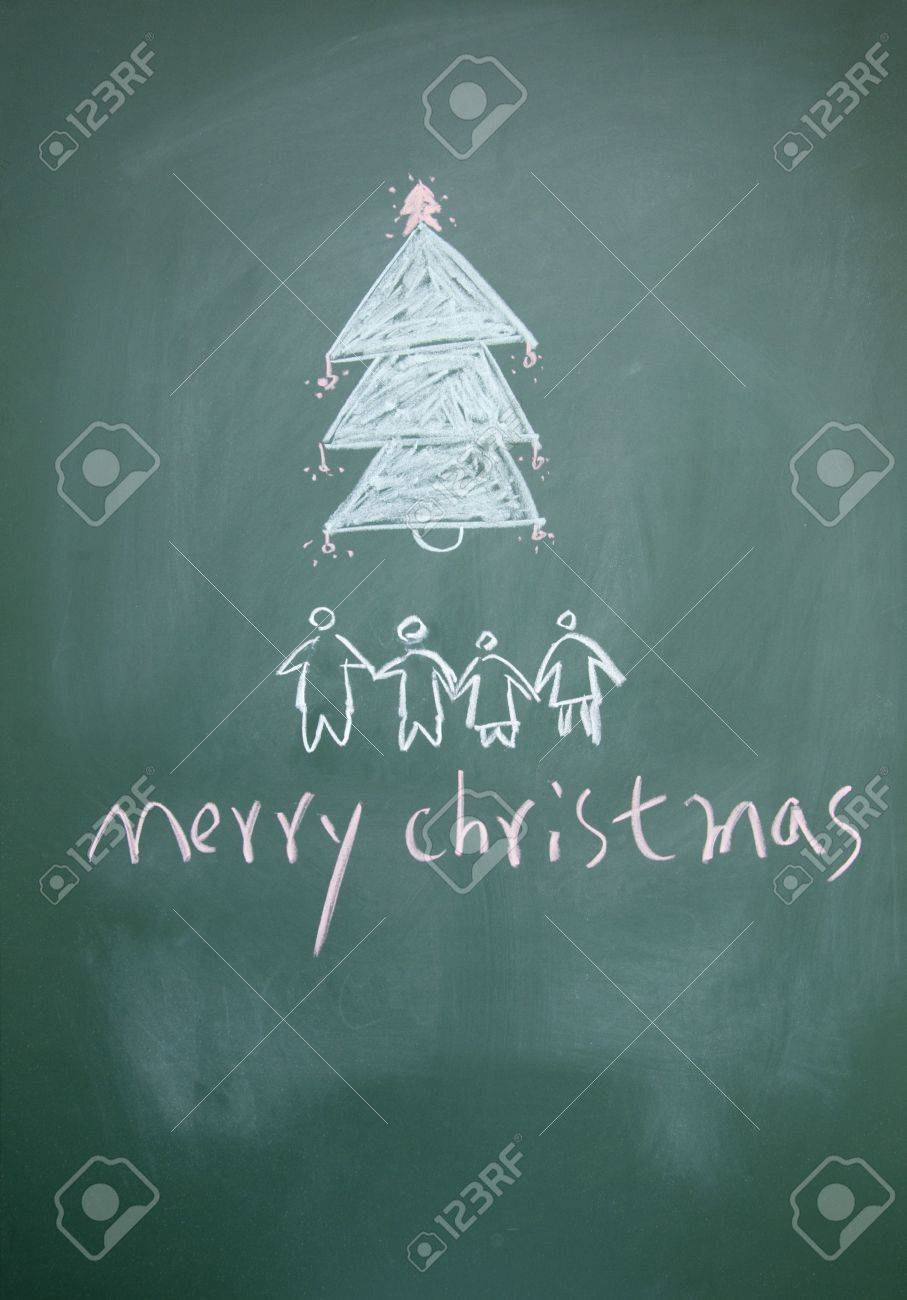 merry christmas sign written with chalk on blackboard Stock Photo - 12049238