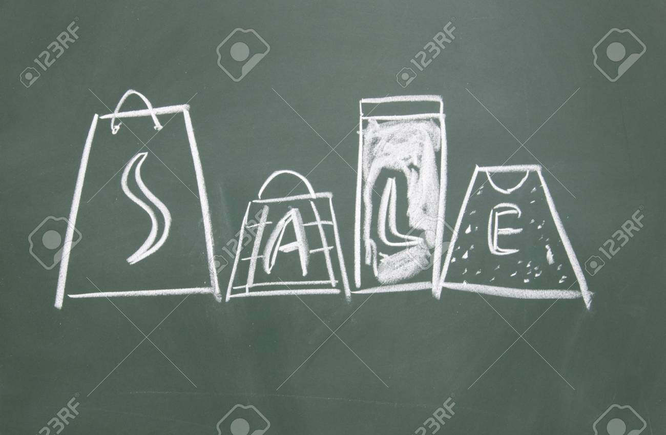 sale title drawn chalk on blackboard Stock Photo - 12049206