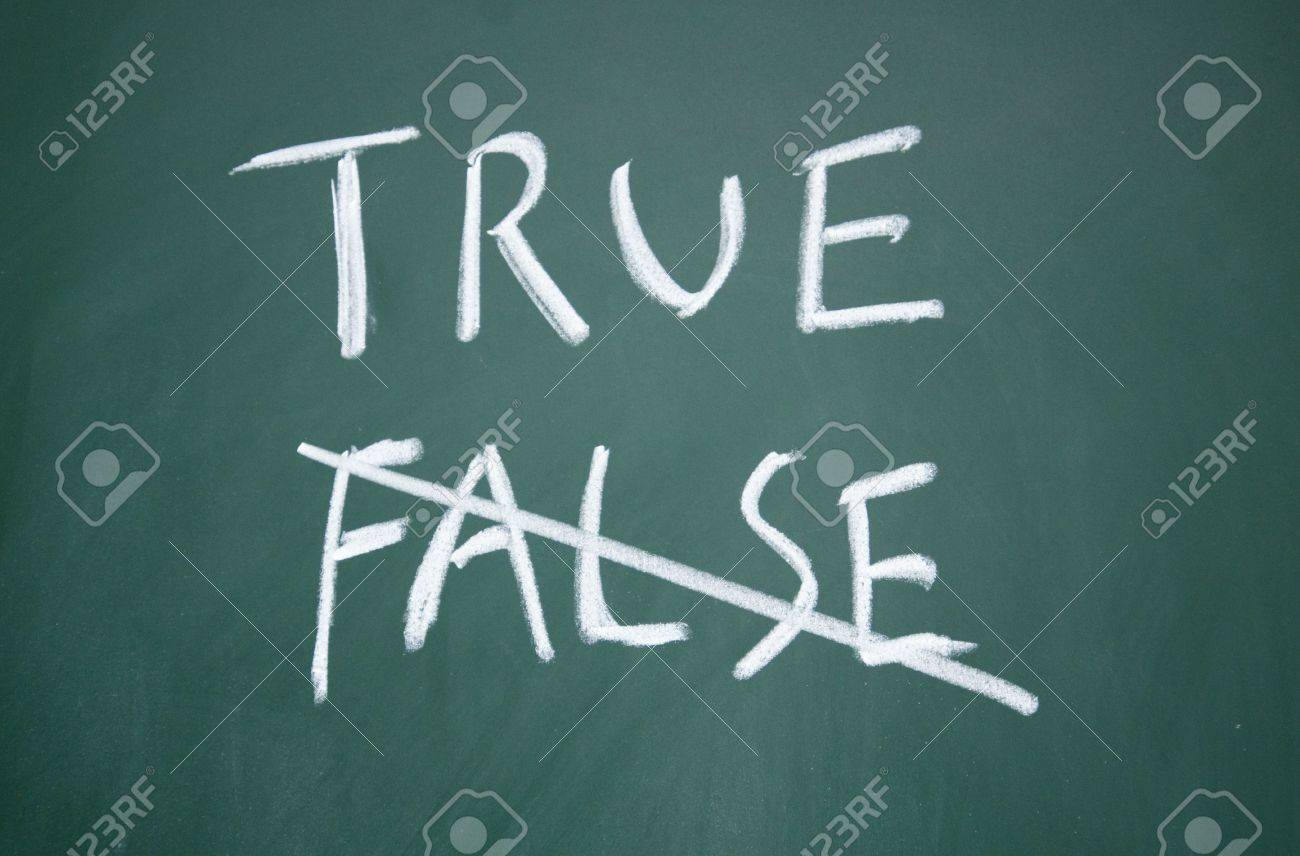 true and false title written with chalk on blackboard Stock Photo - 12649219