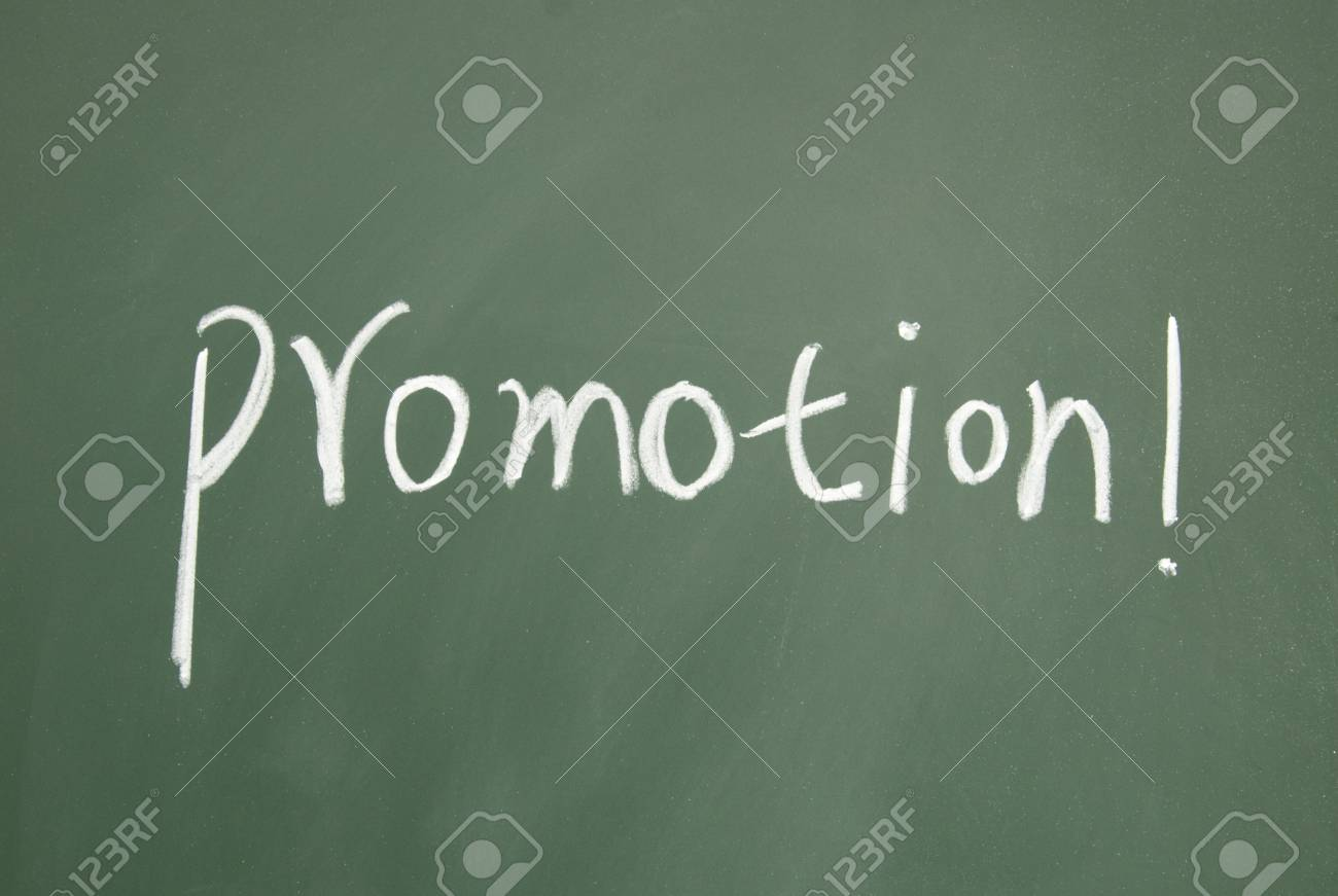 promotion title written with chalk on blackboard Stock Photo - 12648335