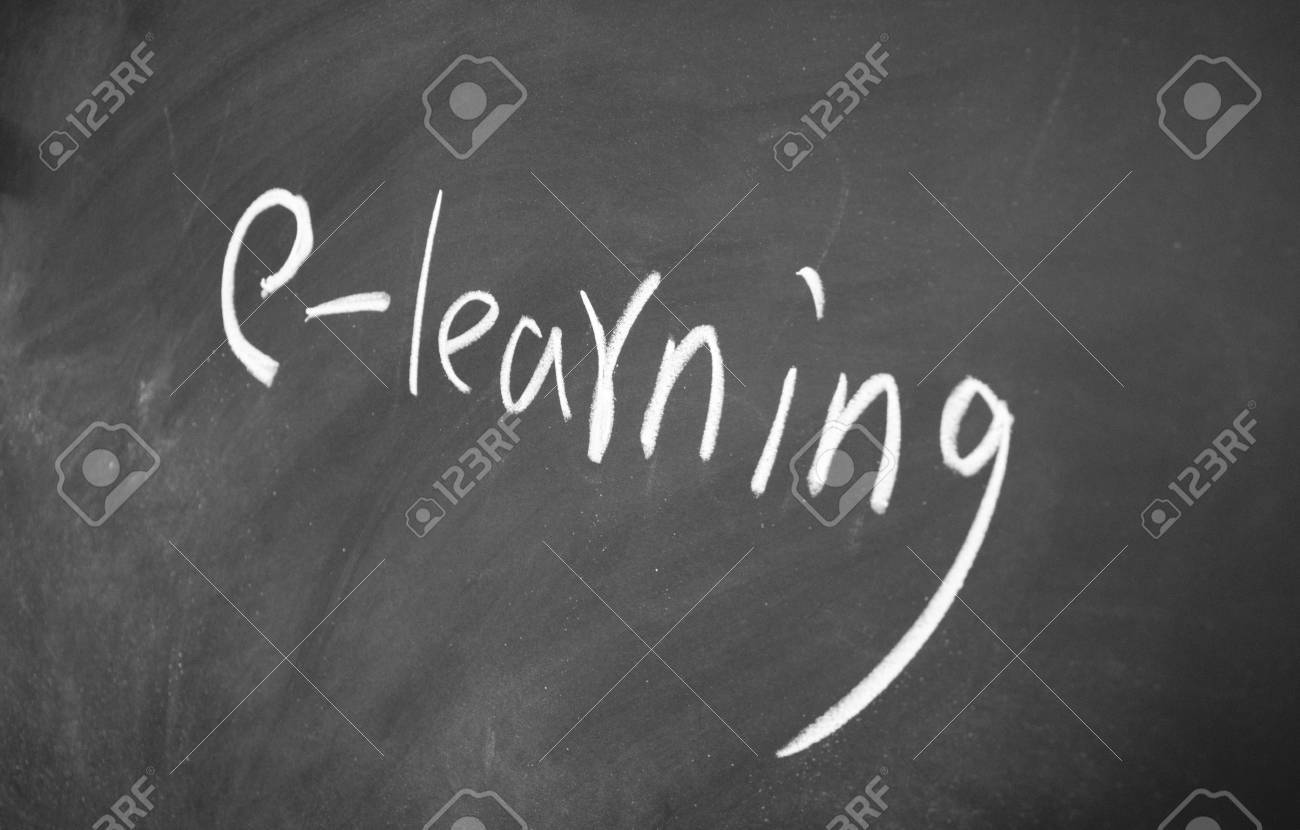 e learning title drawn with chalk on blackboard Stock Photo - 12649309
