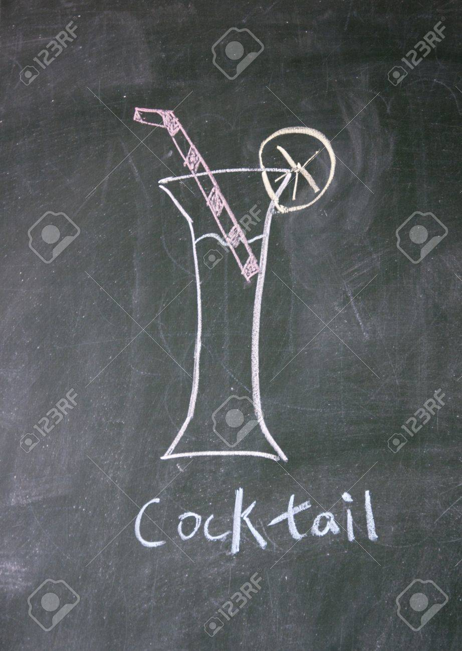 cocktail drawn with chalk on blackboard Stock Photo - 12648673