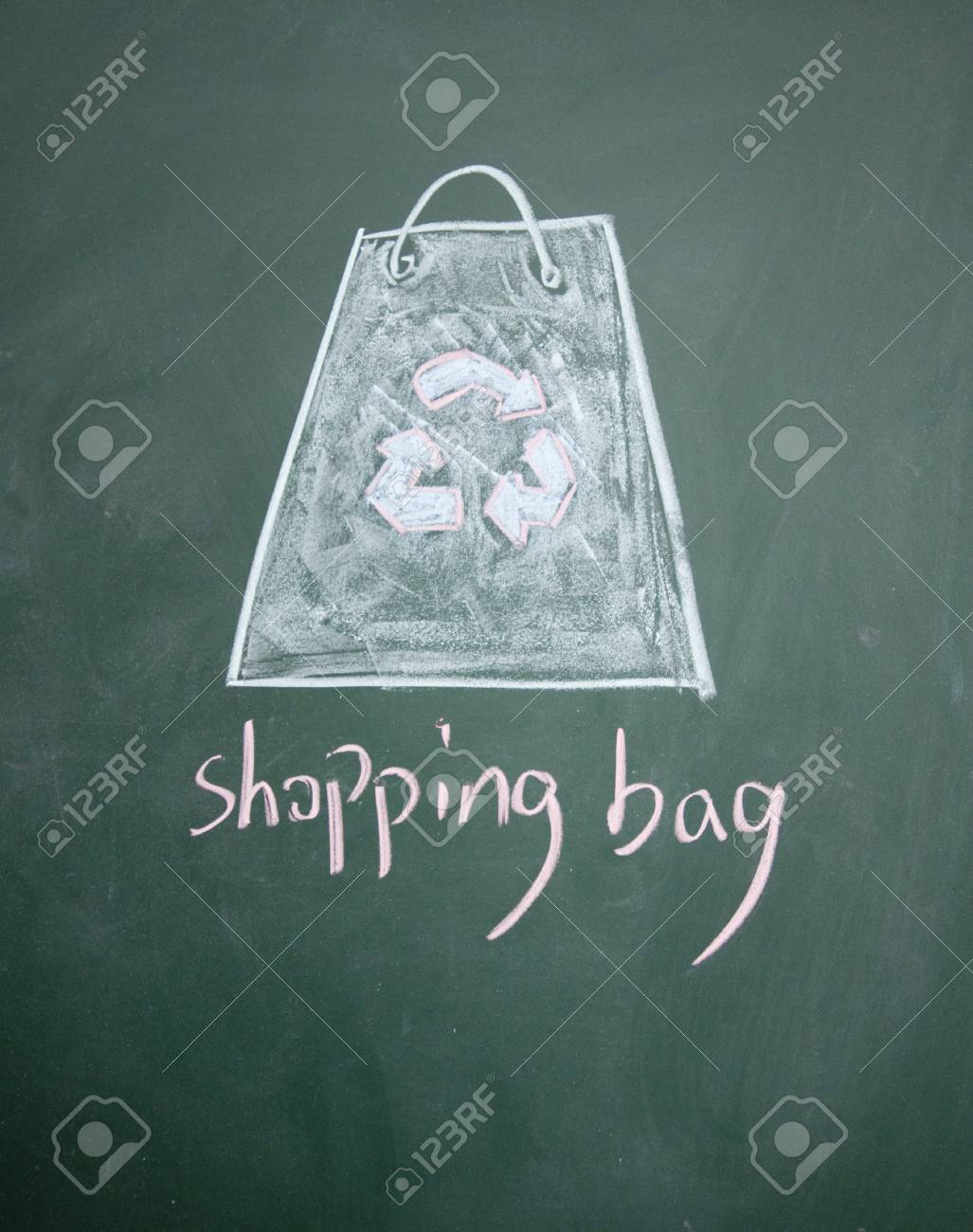 Reusable shopping bag drawn with chalk on blackboard Stock Photo - 12895698