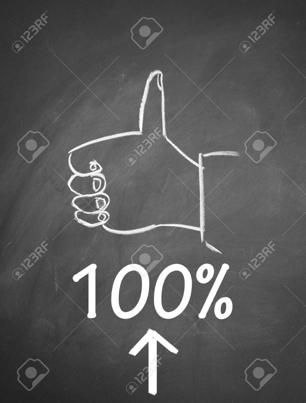 thumb up gesture drawn with chalk on blackboard Stock Photo - 14164304