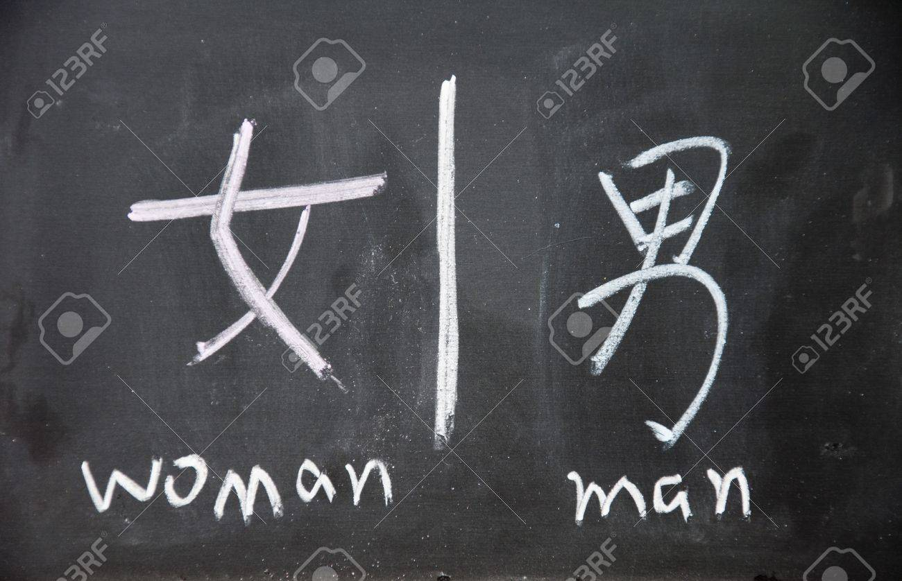 Woman And Man Symbols With Chinese Writing On The Blackboard Stock